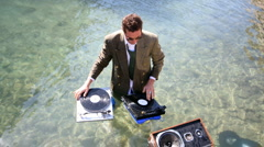 Water dj music records turntables Stock Footage