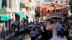 Gondolas on the Canals of Venice, Italy Stock Footage