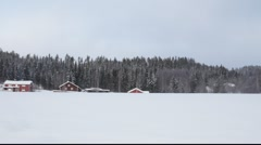Driving through winter landscape Stock Footage