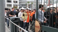 SF Giants Fans Line Stock Footage