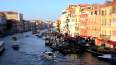 Vessels travelling along the Grand Canal at Rialto Venice, Italy - stock footage