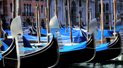 Gondolas on the busy Canals of Venice, Italy Stock Footage