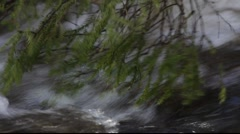 Spring rivulets in a snow-covered forest - stock footage