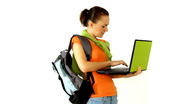 Stock Video Footage of Female student working with laptop, isolated
