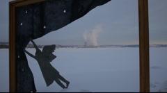Angel and smoking chimneys Stock Footage