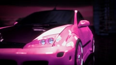 Tuning of the pink car. - stock footage
