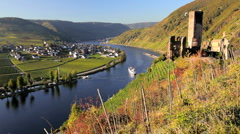 Castle Metternich, and Vineyard, Beilstein, Mosel, Rhineland,German Stock Footage