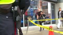 Crime and justice, police, behind police officer, holstered gun  Stock Footage