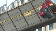 Traffic reflections in mirrored building, Toronto Stock Footage