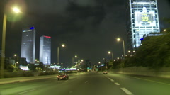 Tel aviv Ayalon night drive 1 Stock Footage