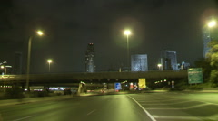 Tel aviv Ayalon night drive 2 Stock Footage