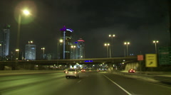 Tel aviv Ayalon night drive 3 Stock Footage