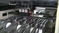 Electronic parts manufacturing assembly line inspection Stock Footage