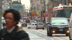 Toronto traffic and street car  Stock Footage