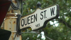 Toronto street signs Queen Dundas Bay John  Stock Footage