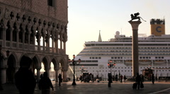 Cruise Ship passing St Marks Sq, Venice Europe. Stock Footage