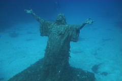 Jesus Malta underwater diving video - stock footage