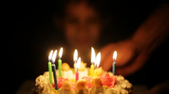 Birthday, pie, candles, boy Stock Footage