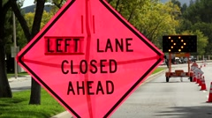 LEFT LANE CLOSED AHEAD SIGN Stock Footage