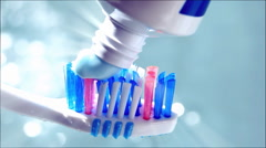 Toothbrush with toothpase Stock Footage