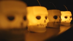 Skull candle light Stock Footage