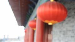 Oriental lanterns display at  xi'an  city wall china  Stock Footage