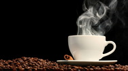Stock Video Footage of Cup of coffee on black background