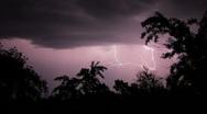 Lightning. Flash of light in night sky Stock Footage