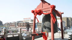 Chinese style big Bronze Bell Stock Footage