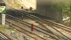 Railroad, Go Train (commuter) arrive in yard mcu Stock Footage