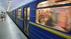 Underground railway station Stock Footage