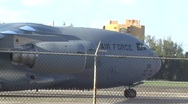 USAF Global Master C17 nose and engines parked at airport Stock Footage