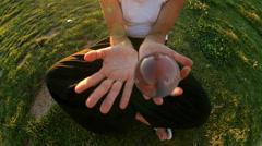 Contact juggling woman circus sport balls Stock Footage
