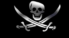 Flag of pirate Stock Footage