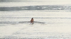 Crew team rowing in action Stock Footage
