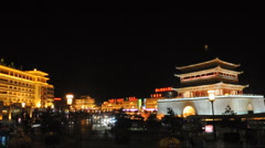 Night view of the Bell Tower in Xian Stock Footage