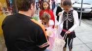Stock Video Footage of Halloween Handouts