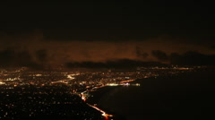 Los Angeles Santa monica at night  with clouds Stock Footage