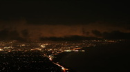 Stock Video Footage of Los Angeles Santa monica at night  with clouds