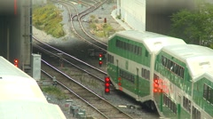 time-lapse, commuter trains leaving station - stock footage