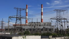Heat-electric generating station - stock footage