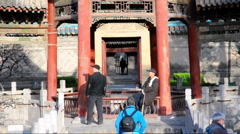 People in temple Stock Footage