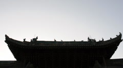 Pigeon on the eaves of temple china Stock Footage