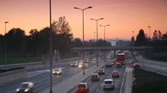 City time laps driving in sunset Stock Footage