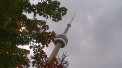 CN tower dutch tilt zoom in out Stock Footage