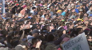 Crowd Jumps At Same Time at Jon Stewart's Rally to Restore Sanity  Stock Footage