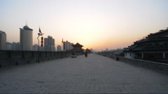 xi'an city wall of china - stock footage
