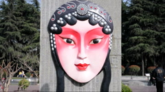 Peking Opera masks in park of china Stock Footage