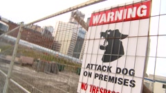 Attack guard dog sign, hand-held, spin tilts Stock Footage