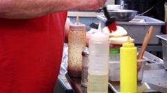 Frying hamburger patty Stock Footage